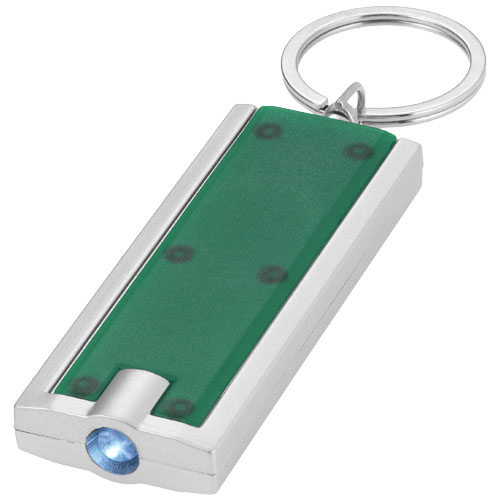 Castor LED keychain light in green-and-silver