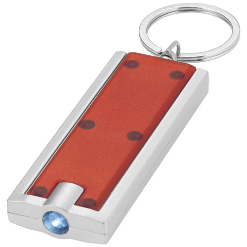 Castor LED keychain light in red-and-silver