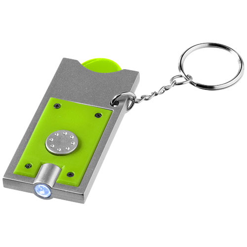 Allegro LED keychain light with coin holder in lime-and-silver