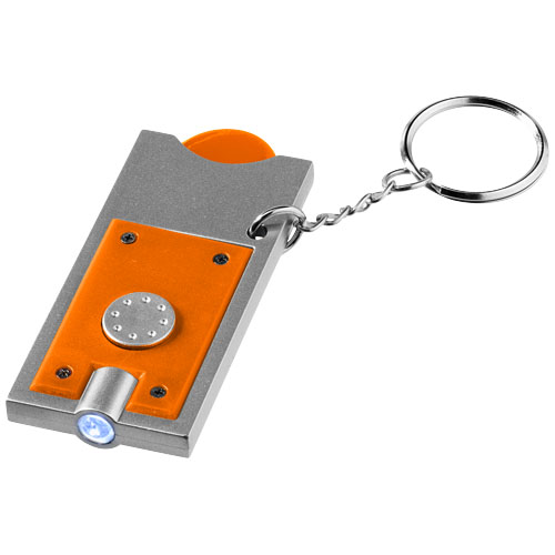 Allegro LED keychain light with coin holder in orange-and-silver