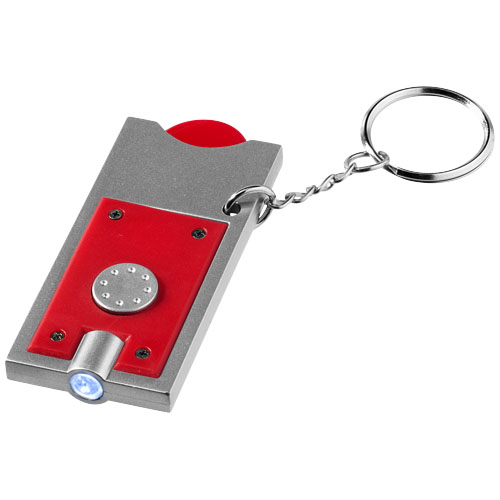 Allegro LED keychain light with coin holder in red-and-silver
