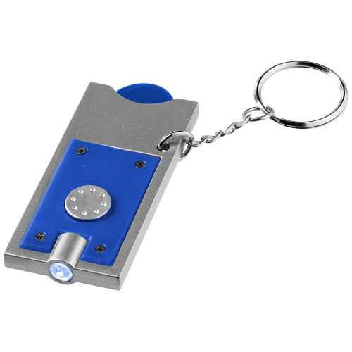 Allegro LED keychain light with coin holder in royal-blue-and-silver