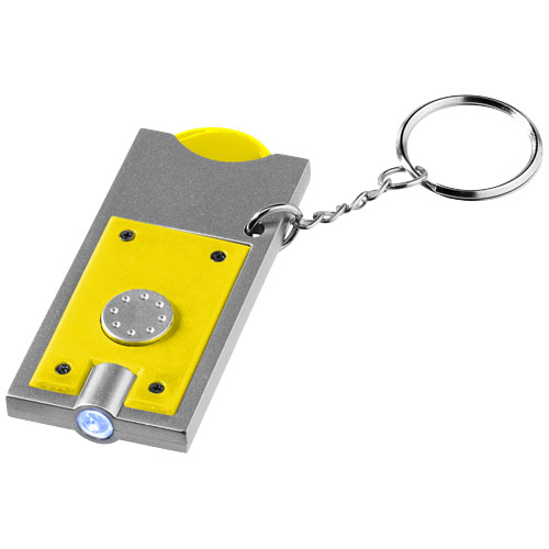 Allegro LED keychain light with coin holder in yellow