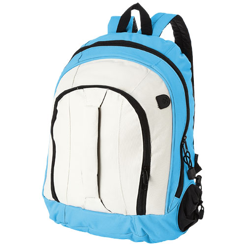 Arizona front handle backpack in white-solid-and-aqua