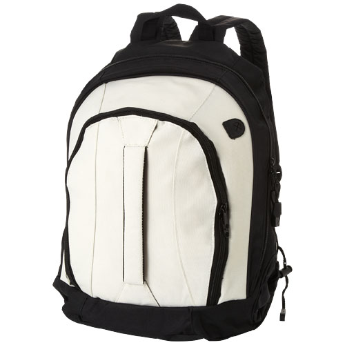 Arizona front handle backpack in white-solid-and-black-solid