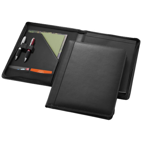 Harvard A4 leather zippered portfolio in black-solid