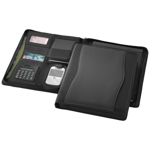 Wave A4 zippered portfolio in black-solid