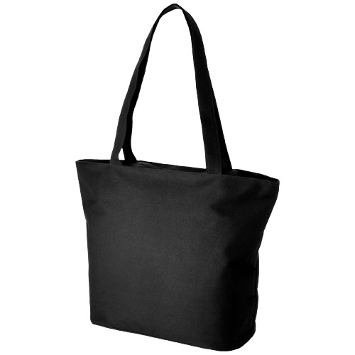 Panama zippered tote bag in black-solid