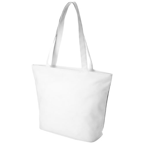 Panama zippered tote bag in white-solid