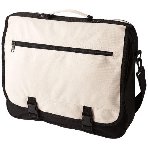 Anchorage 2-buckle closure conference bag in ecru