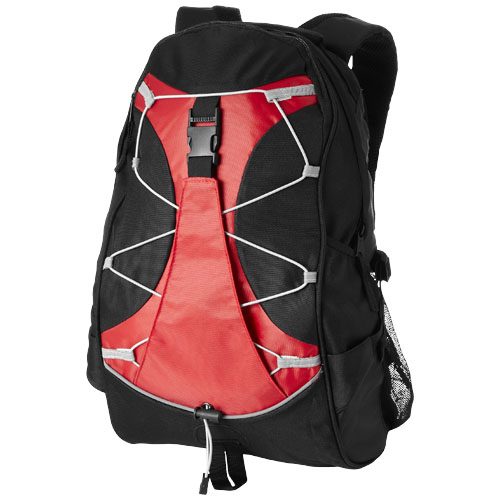 Hikers elastic bungee cord backpack in black-solid-and-red