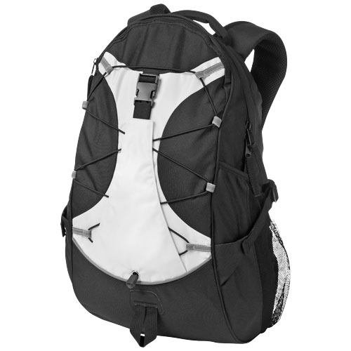 Hikers elastic bungee cord backpack in black-solid-and-white-solid