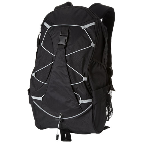 Hikers elastic bungee cord backpack in black-solid
