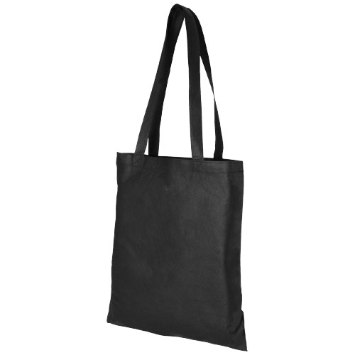 Zeus large non-woven convention tote bag in black-solid