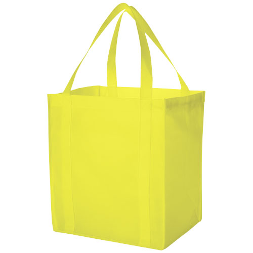 Liberty bottom board non-woven tote bag in lime-green