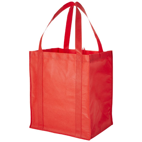 Liberty bottom board non-woven tote bag in red