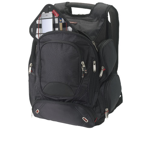 Proton 17'' checkpoint friendly laptop backpack in black-solid