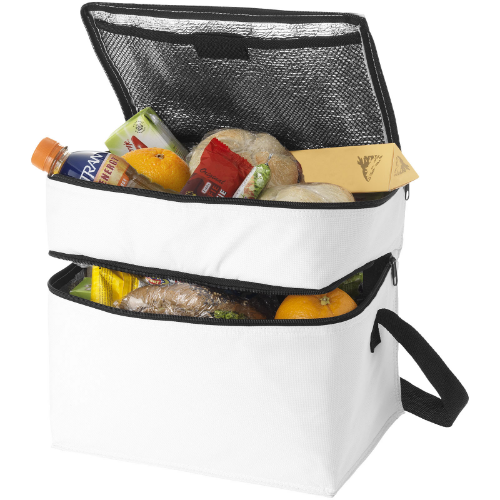 Oslo 2-zippered compartments cooler bag in white-solid