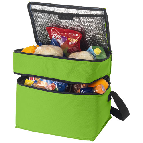 Oslo 2-zippered compartments cooler bag in apple-green