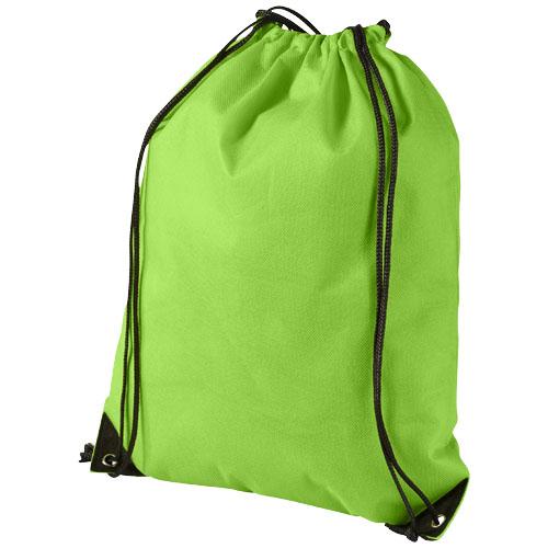 Evergreen non-woven drawstring backpack in apple-green