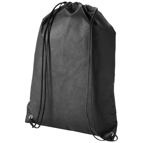 Evergreen non-woven drawstring backpack in black-solid