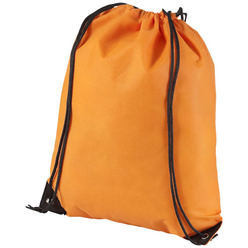 Evergreen non-woven drawstring backpack in orange