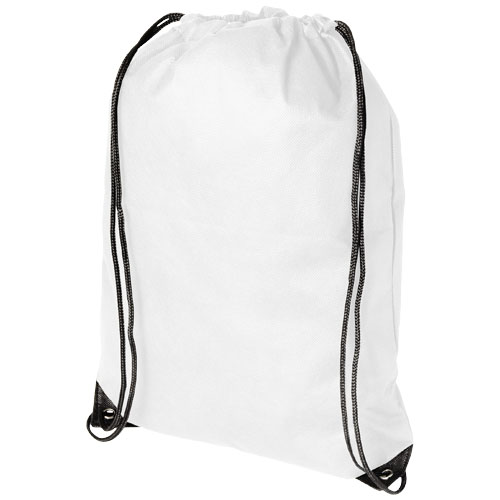 Evergreen non-woven drawstring backpack in white-solid