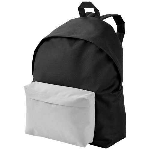 Urban covered zipper backpack in black-solid-and-white-solid