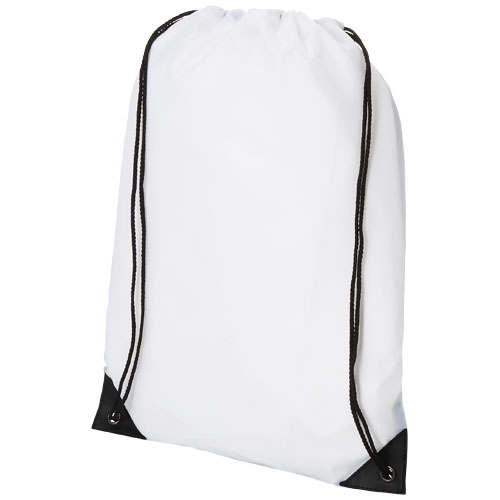 Condor polyester and non-woven drawstring backpack in white-solid