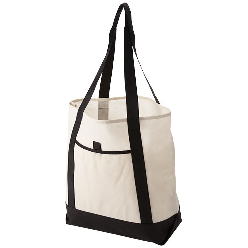 Lighthouse non woven Tote in off-white-and-black-solid