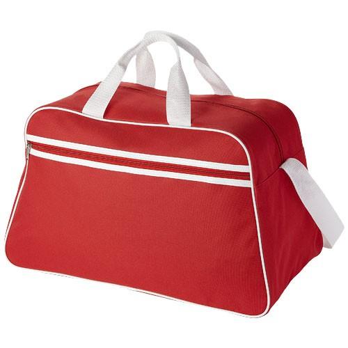 San Jose 2-stripe sports duffel bag in red