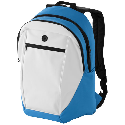 Ozark headphone port backpack in white-solid-and-aqua