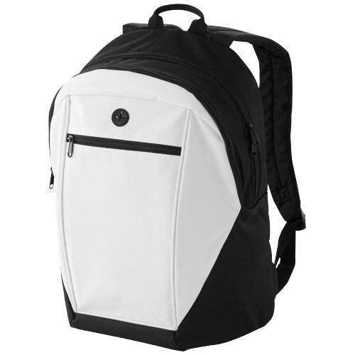 Ozark headphone port backpack in white-solid-and-black-solid