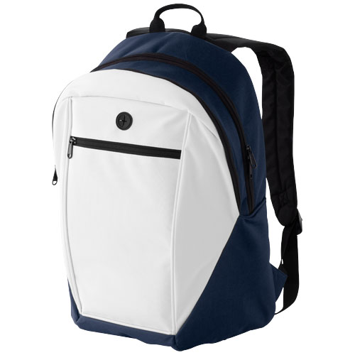 Ozark headphone port backpack in white-solid-and-navy