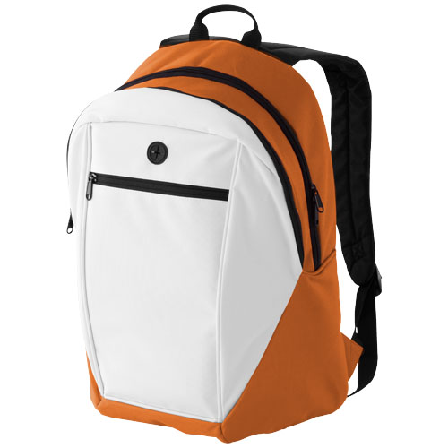 Ozark headphone port backpack in white-solid-and-orange