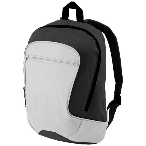 Laguna zippered front pocket backpack in grey-and-black-solid