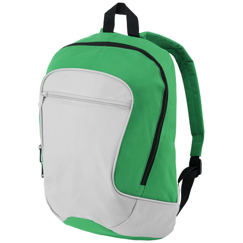 Laguna zippered front pocket backpack in grey-and-green