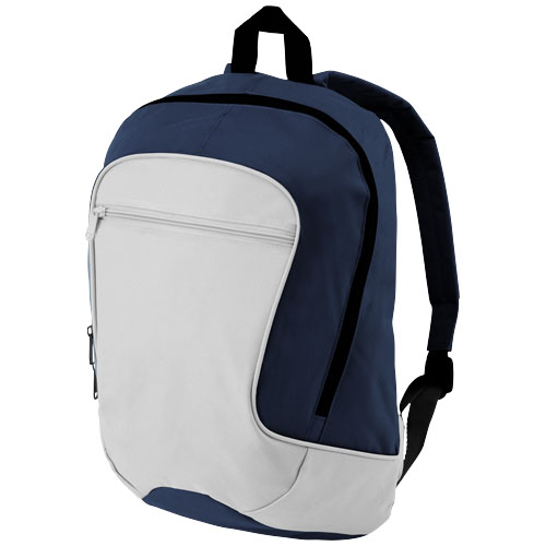 Laguna zippered front pocket backpack in grey-and-navy