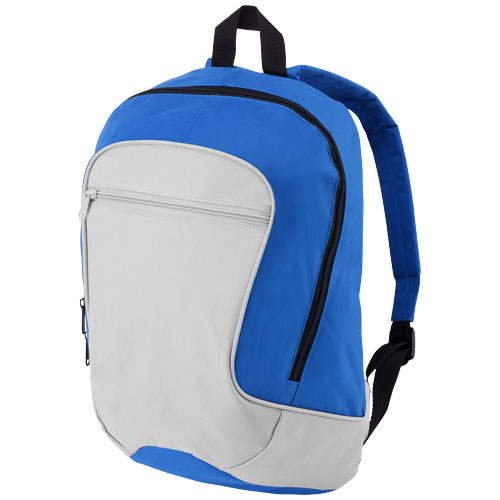 Laguna zippered front pocket backpack in grey-and-royal-blue