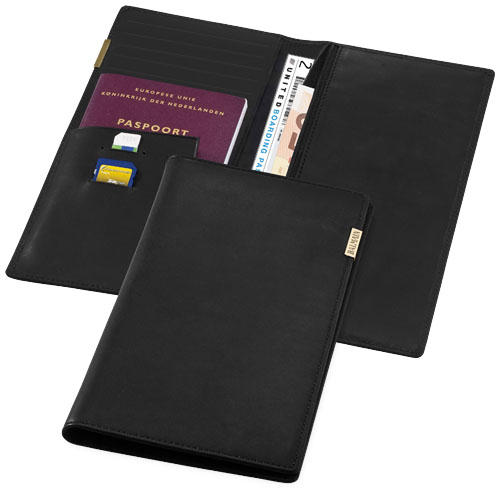 Travel wallet in black-solid