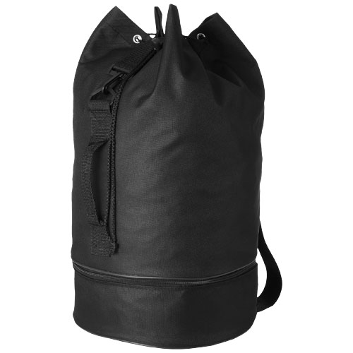 Idaho sailor zippered bottom duffel bag in black-solid