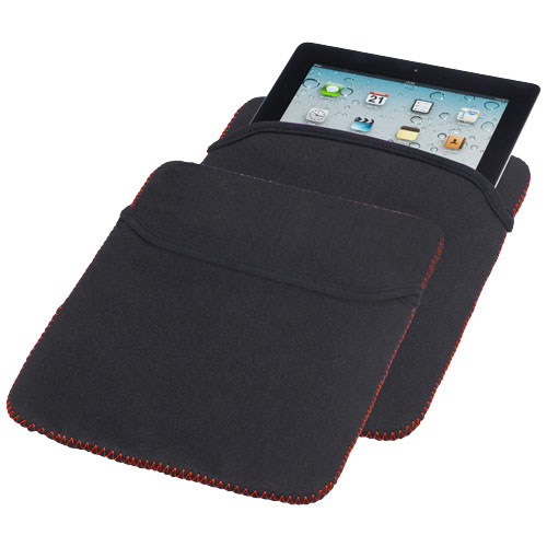 Zigzag reversible tablet sleeve in black-solid-and-red