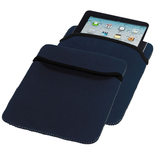 Zigzag reversible tablet sleeve in navy-and-grey