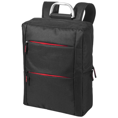 Boston 15.6'' Laptop backpack in black-solid-and-red