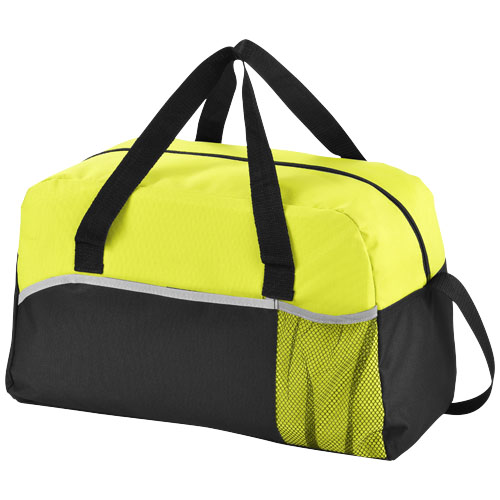 Energy duffel bag in black-solid-and-apple-green