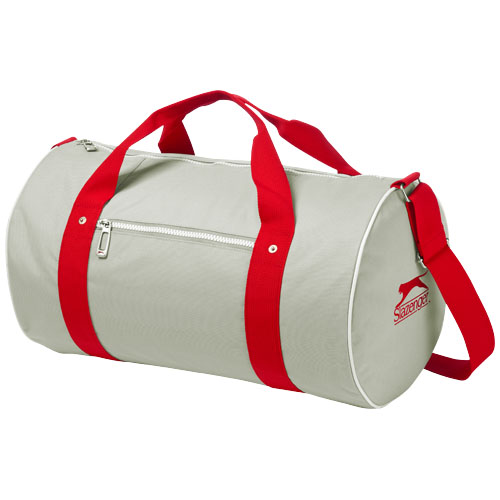 York duffel in grey-and-red