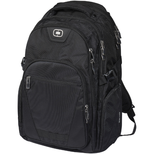 Curb 17'' laptop backpack in black-solid