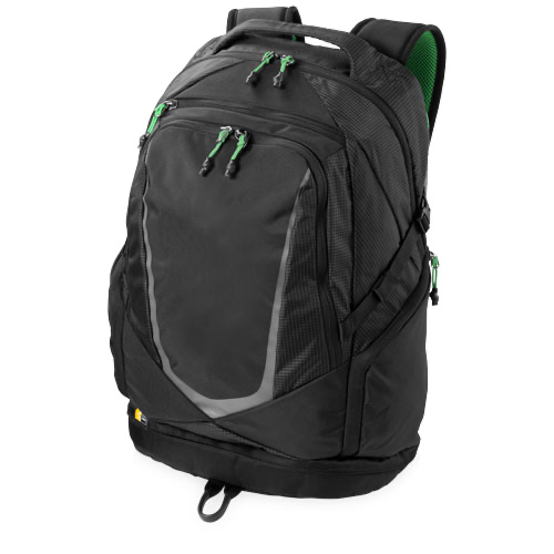 Griffith Park 15'' laptop backpack in black-solid-and-green-and-grey