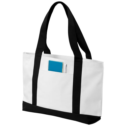 Madison tote bag in white-solid-and-black-solid