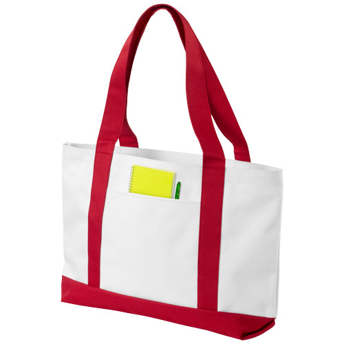 Madison tote bag in white-solid-and-red